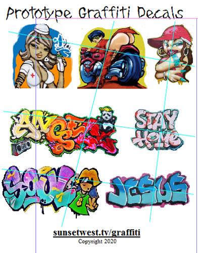 Big Sheet of Graffiti Decals